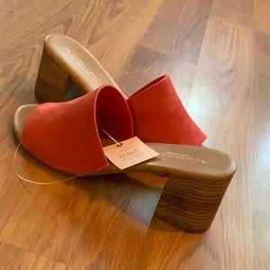 Italian leather open toe slide stacked heel